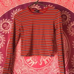Forever 21 Striped 70's Long Sleeve Crop